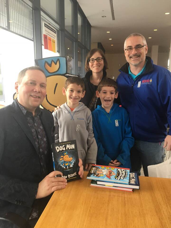 Family with Brendan and his family & Dav Pilkey at the Eric Carle Museum